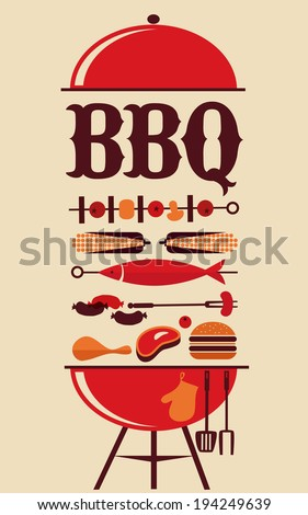 BBQ party invitation - stock vector