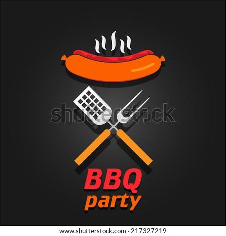 BBQ party invitation. Vector illustration poster - stock vector