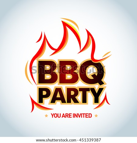 bbq party logotype template flames barbecue stock vector 451339387