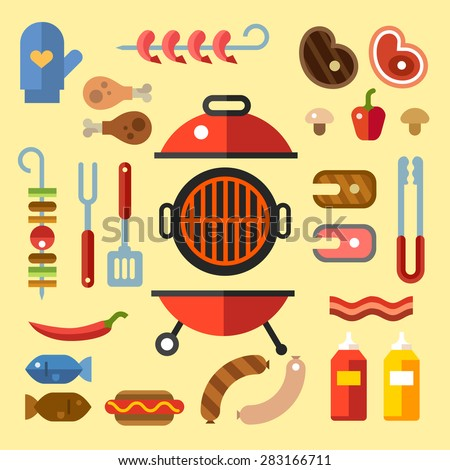 BBQ party. Set for a picnic. Different kinds of meat and fish steaks, sausages. Summer vacation. Vector flat Illustration