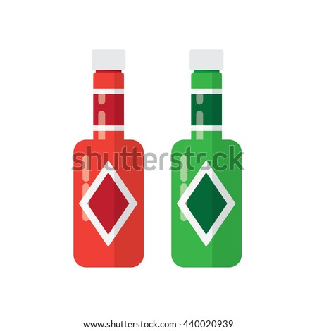 BBQ sauce food and various barbecue sauces in glass bottles. - stock vector