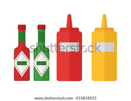 BBQ sauce food and various barbecue sauces in glass bottles. BBQ sauce ingredient and vector BBQ sauce ketchup seasoning spicy ingredient. BBQ sauce red grill hot cooking gourmet spice. - stock vector