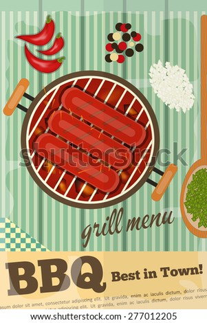 BBQ. Sausage Barbecue, Grill on Wooden Rustic Background. Vector Illustration. - stock vector