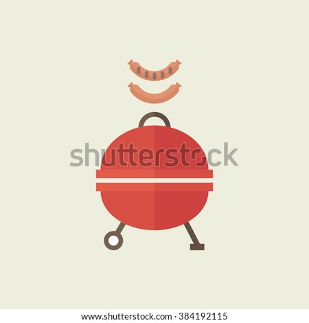 BBQ set. Colorful food icons. Flat design. Sausage and grill. - stock vector
