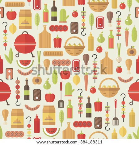 BBQ set. Cute food pattern. Colorful food icons. Flat design. - stock vector