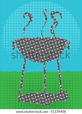 BBQ silhouette halftone texture green grass blue sky - stock vector