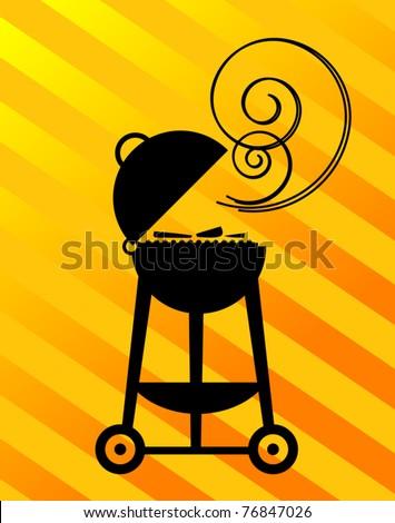 BBQ Silhouette, vector illustration - stock vector