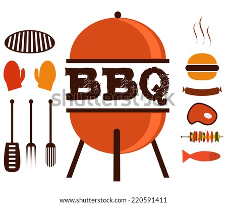 BBQ Vector Set with Hamburger and Grill - stock vector