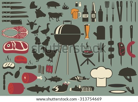 Bbq vintage set. Set of the bbq and grill collection. cooking grill objects collection. Beer bo - stock vector
