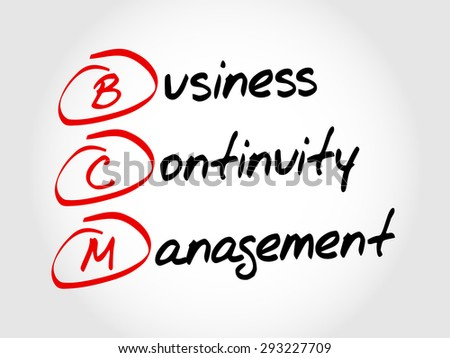 BCM - Business Continuity Management, acronym business concept - stock vector