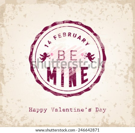 Be Mine Valentines Day Typography Background - stock vector