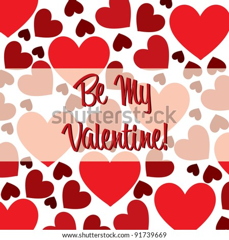 Be My Valentine red heart scatter card in vector format. - stock vector