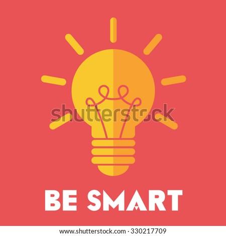 Be smart light bulb vector icon. - stock vector