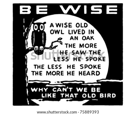 Be Wise - Retro Ad Art Banner - stock vector