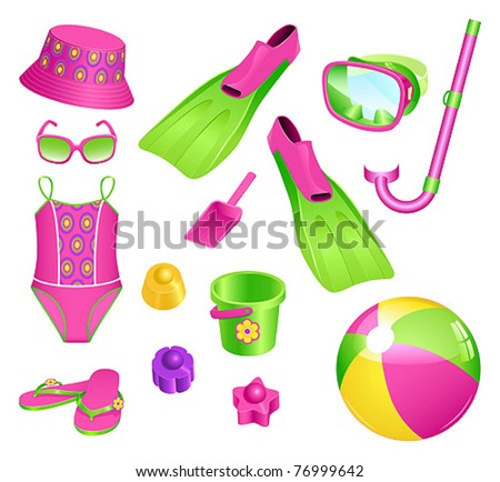 Beach accessories for girl - stock vector