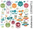 Beach And Summer Icons - Set - Isolated On White Background - Vector Illustration, Graphic Design Editable For Your Design. Logo Symbols - stock vector