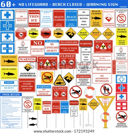 Beach and Swimming Pool Warning signs. Vector