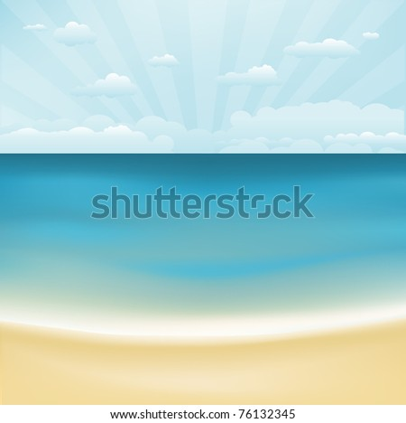 Beach And Topical Sea, Vector Illustration