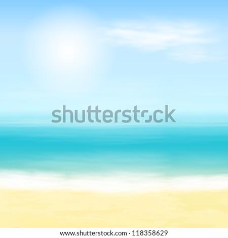 Beach and tropical sea. EPS10 vector. - stock vector