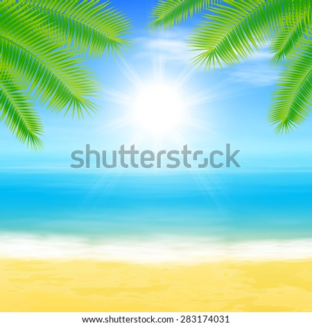 Beach and tropical sea with palmtree leaves. EPS10 vector. - stock vector