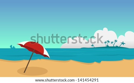 Beach and umbrella - stock vector
