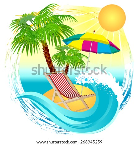 beach background with beach chairs and umbrella - stock vector