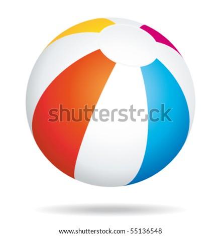 Beach ball bouncing. Vector icon. - stock vector