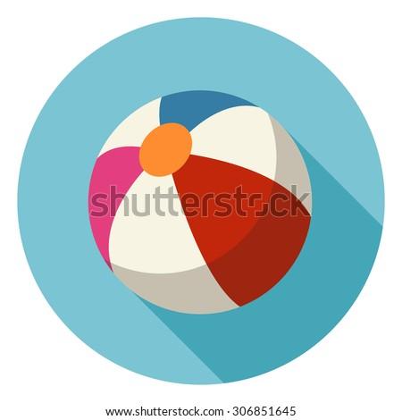 Beach Ball Flat Icon.Vector - stock vector