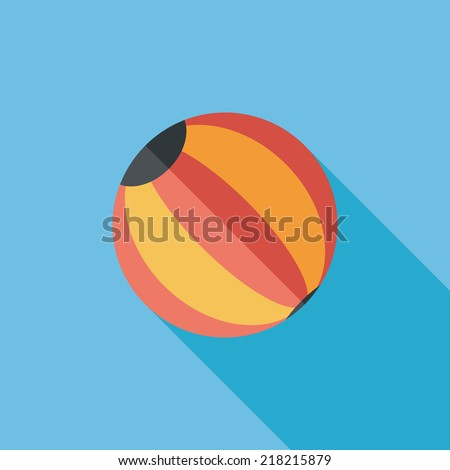 Beach ball flat icon with long shadow - stock vector