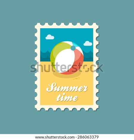 Beach Ball flat stamp, summertime - stock vector