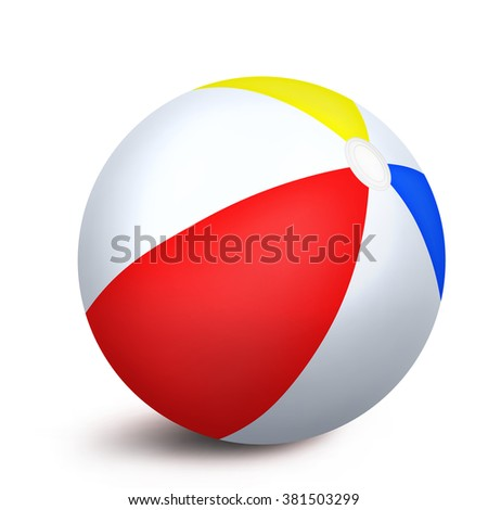 Beach ball isolated over white background. Vector illustration