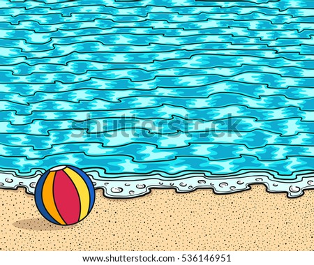 Swimming Pool Beach Ball Background beach ball on sand sea background stock vector 536146951