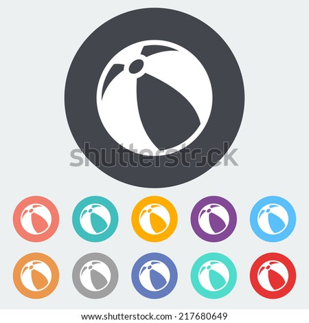 Beach ball. Single flat icon on the circle. Vector illustration. - stock vector