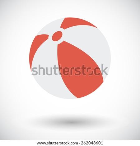 Beach ball. Single flat icon on white background. Vector illustration. - stock vector