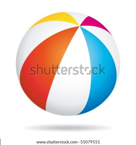 Beach ball. Vector illustration. - stock vector