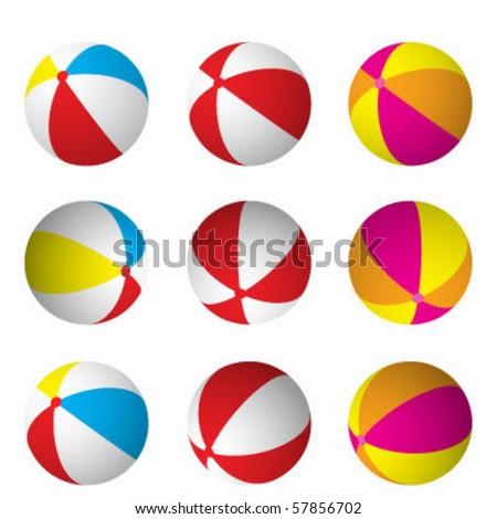 Beach balls - stock vector