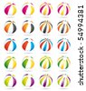 Beach balls set. Vector icons. - stock vector