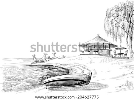 Beach bar sketch, boat on shore vector sketch - stock vector