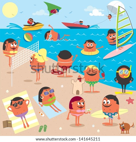 Beach: Cartoon illustration of busy beach. No transparency and gradients used. - stock vector