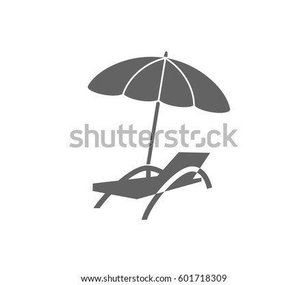 Beach Chair And Umbrella Icon. Relax Icon.
