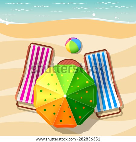 Beach chair and umbrella top view. Vacation travel, relaxation summer tourism, sea and sand, vector illustration - stock vector