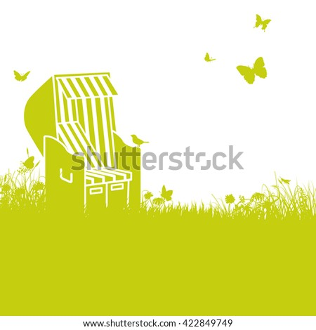 Beach chair in the sun and grass