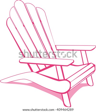 Beach chair. White and Pink vector illustration. - stock vector