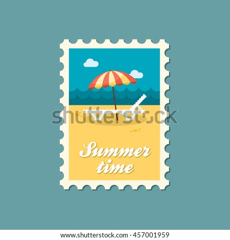 Beach chaise lounge with umbrella vector stamp. Summer. Summertime. Holiday. Vacation, eps 10