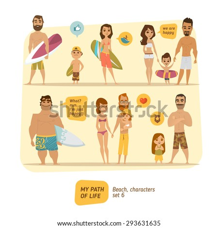 Beach characters  - stock vector