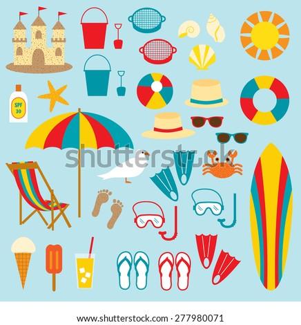 beach clip art - stock vector