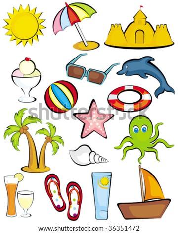 Beach Clipart icons - stock vector