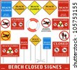 Beach Closed Signs Set. Vector - stock vector