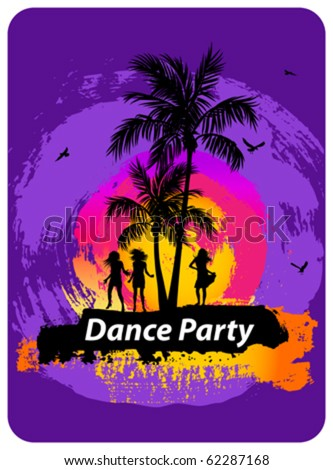 Beach dance party flyer