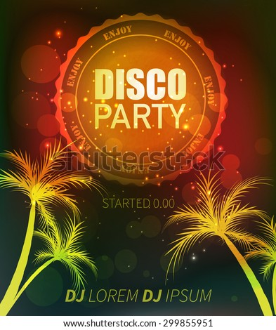 Beach disco party / dark flyer design label and palm trees - stock vector
